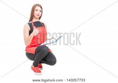 Friendly Storekeeper Showing Thumb Up