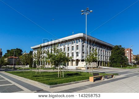 Administrative building from communist period and panorama to City of Pleven, Bulgaria