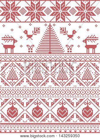 Scandinavian Printed Textile  style and inspired by  Norwegian Christmas and festive winter seamless pattern in cross stitch with Xmas trees, snowflakes, Reindeer, Robin Bird, heart, Christmas bauble