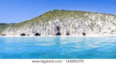Panorama Of Cala Luna Caves In The Gulf Of Orosei Sardinia Italy
