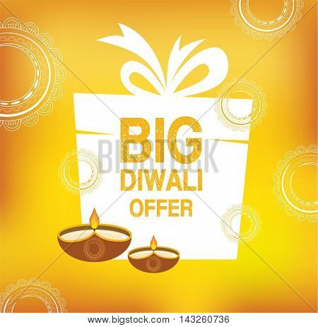 Yellow color vector card design for Diwali festival poster with traditional lamps and white gift. vector illustration