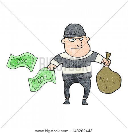 freehand textured cartoon bank robber
