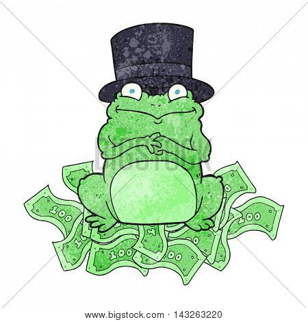 freehand textured cartoon rich frog in top hat