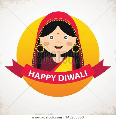 Vector Indian Girl Holding traditional Oil Lamp Celebrating Deepavali . Happy Diwali, indian holiday