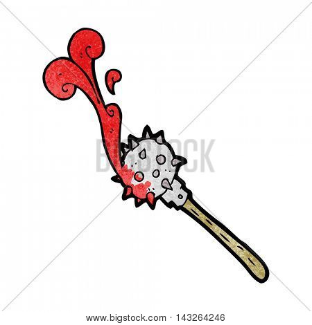 freehand textured cartoon bloody medieval mace