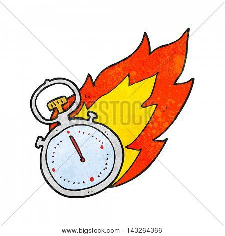 freehand textured cartoon flaming stop watch