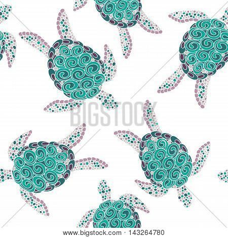 Vector seamless turtle pattern with hand drawn mosaique turtle illustrations poster
