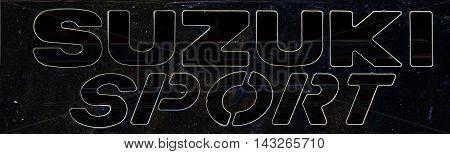 Kazakhstan, Ust-Kamenogorsk, july 30, 2016: Suzuki - Japanese automobile company. Nameplate of Suzuki, suzuki sign