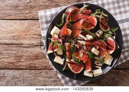 Gourmet Salad With Figs, Prosciutto, Blue Cheese And Arugula. Horizontal Top View