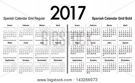 Spanish Calendar grid for 2017. Mondays first. Regular and bold digits grid. Best for business and office needs web design presentations and prints. Vector illustration