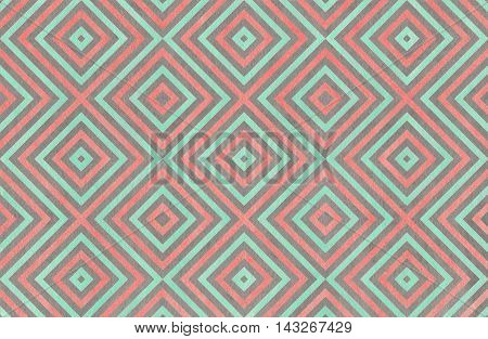 Geometrical Pattern In Coral, Seafoam And Grey Colors.