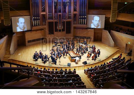 MOSCOW - APR 20, 2015: Orchestra performs at concert devoted to 100th anniversary of David Ashkenazy in House of Music, Svetlanov hall