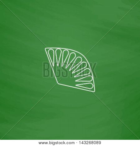 Folding fan Outline vector icon. Imitation draw with white chalk on green chalkboard. Flat Pictogram and School board background. Illustration symbol