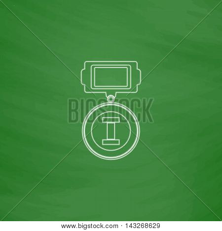 award Outline vector icon. Imitation draw with white chalk on green chalkboard. Flat Pictogram and School board background. Illustration symbol