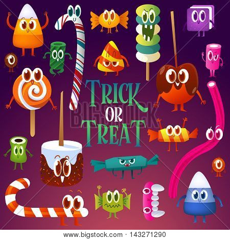 Set cartoon candy for Halloween. Greeting cards with characters.Candy corn, lollipop, sweet, barley sugar, gum, Chocolate