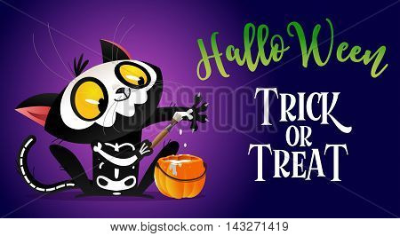 Cartoon illustration to the day of Halloween with black cat drawing skeleton. Costume party. Children's image.