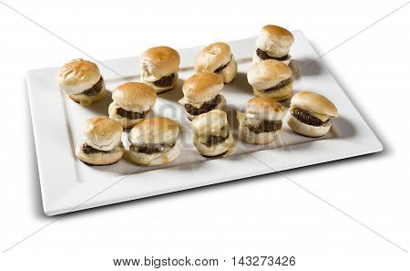 Portion of mini burger with cheese. White background.