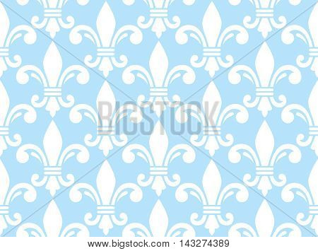 Fleur de lis white and blue semless pattern - French floral background