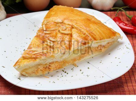 Slice Of Chicken Pie Served On Dish