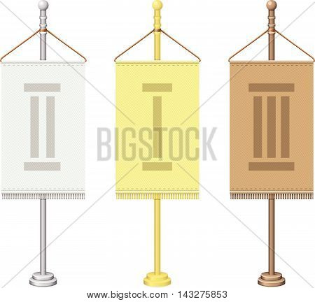 Vector set of flagpoles. Gold, silver and bronze flagpoles. Isolated on white.