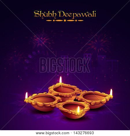 Traditional Illuminated Oil Earthen Lamps on sparkle fireworks night city background, Vector illustration for Indian Festival of Lights, Shubh Deepawali Celebration.