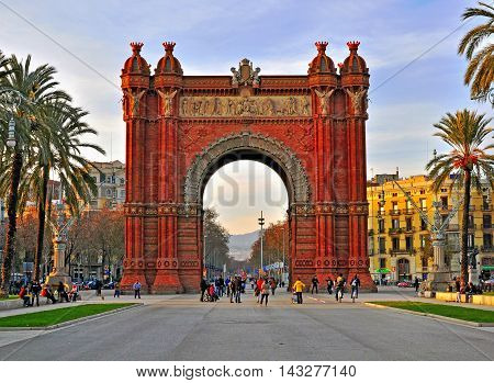 BARCELONA SPAIN - JANUARY 6: Arch of Triumph in ciutadella park Barcelona on January 6 2015. Ciutadella Parc is a park in Ciutat Vella district Barcelona city.