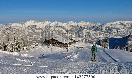 Summit station of the Wispile ski area Gstaad. Ski and mountains.