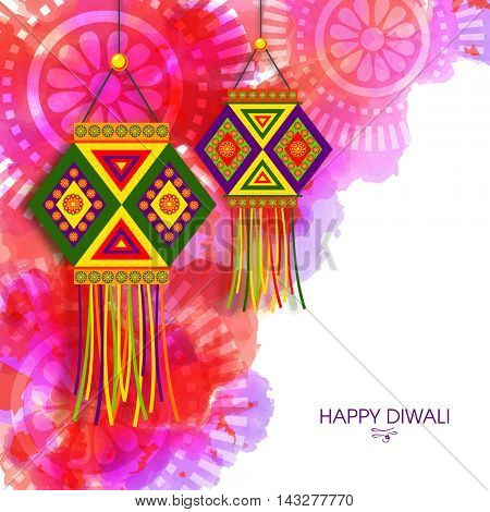 Creative colorful hanging Lamps (Kandil) on abstract floral pattern, Traditional Indian Festival background, Beautiful Greeting Card for Hindu Community Festival of Lights, Happy Diwali celebration.