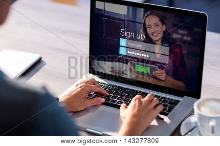 Login screen with dark-haired woman with coffee and laptop against cropped image of man working on laptop