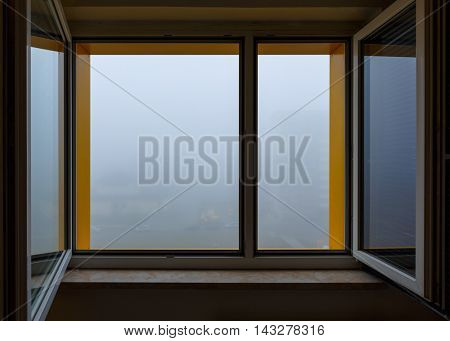 Fog against window, fog outside the window