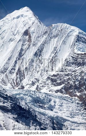 North face of Annapurna II from Kicho Tall (Ice Lake) on Round Annapurna trek Annapurna Conservation Area Manang Nepal.
