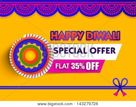 Happy Diwali Sale Banner, Special Offer Flyer, Flat Discount Poster, 35% Off, Sale background with firecracker and floral decoration, Creative illustration for Indian Festival of Lights celebration.