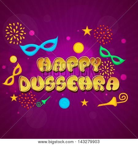Golden Text Happy Dussehra on shiny background, Can be used as Poster, Banner or Flyer design for Indian Festival celebration.