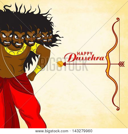 Creative illustration of Angry Ravana with bow and arrow on shiny background for Indian Festival, Happy Dussehra celebration.