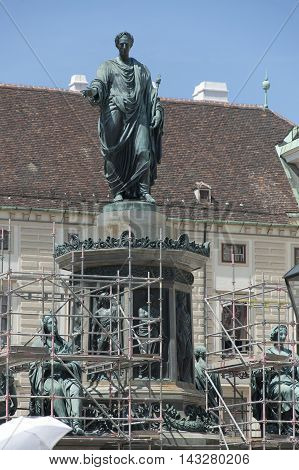The monument of Austro-Hungarian emperor Franz II in In Der Burg square of Hoffburg in Vienna