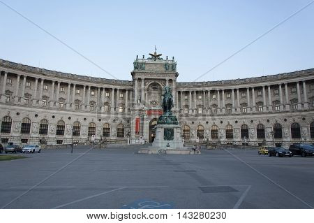 Neue Burg of Hofburg Imperial Palace and monument of Prince Eugen of Savoy seen from Heldenplatz