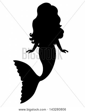 Black vector cartoon mermaid girl with long hair silhouette