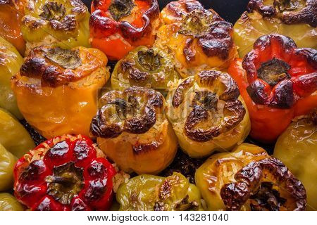 Stuffed tomatoes and peppers a traditional plate in Greece