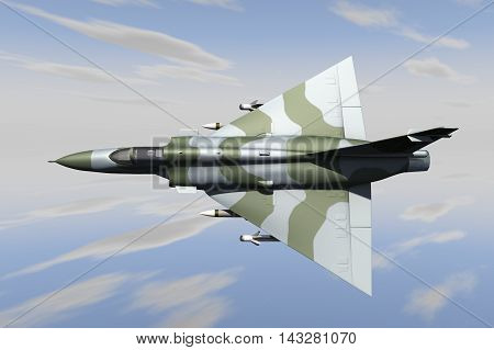 A jetfighter armed with missiles in use. (3d rendering)