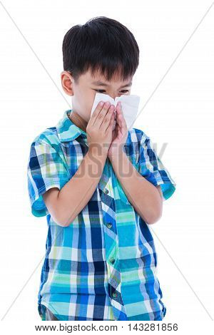 Asian Boy Using Tissue To Wipe Snot From His Nose. Isolated On White Background.