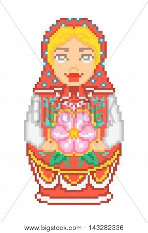 Vector pixel art icon matreshka wearing red headscarf and sarafan. Traditional russian wooden doll. Hand-painted matryoshka doll with a bouquet of flowers. Russian souvenir wooden toy nesting doll.