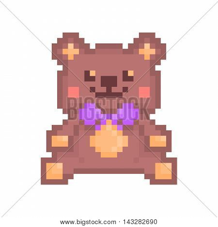 Vector pixel art illustration kind smiling and blushing sitting brown toy teddy bear with violet bow isolated on white background. Teddy bear icon.