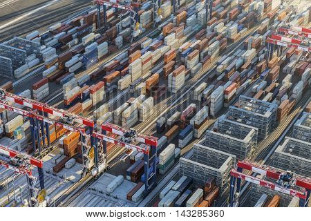 Los Angeles, California, USA - August 17, 2016:  Afternoon aerial view of stacks of port side shipping containers.