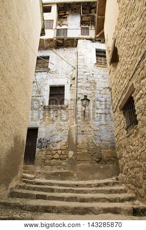 Houses in Valderrobres in Teruel, Aragon, Spain.