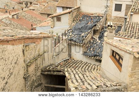 Roofs of houses in Valderrobres in Teruel, Aragon, Spain.