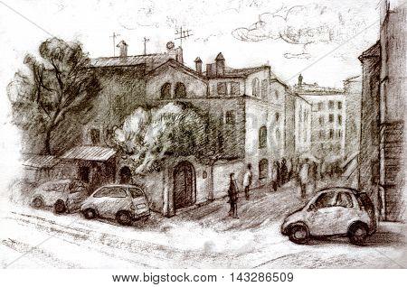 Graphic illustration of Rome. Italy. Poster Design. Two-color pencil sepia. Duotone