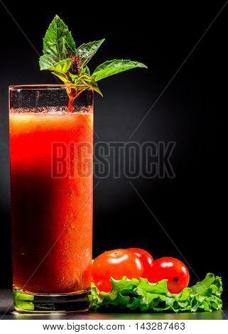 Tomato Smoothie Over Black