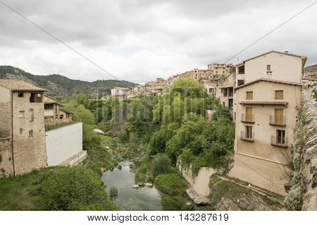 The river and Beceite in Teruel, Aragon, Spain.