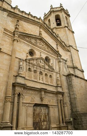 Church and Belltower Cretas in Teruel, Aragon, Spain.