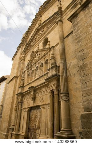 Church facade Cretas in Teruel, Aragon, Spain.